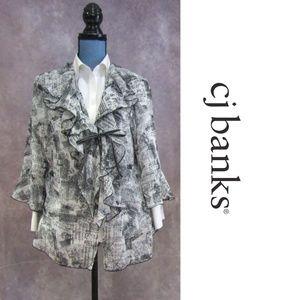 NEW CJ Banks Black & White Ruffled Kimono Size 1X